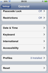 Removing the Provisioning Profiles is done in Settings / General / Profiles